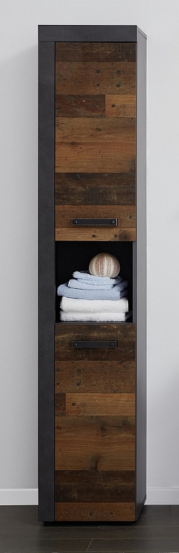 Hochschrank Cancun Indy | Matera grau / Old Used Wood | Shabby Look