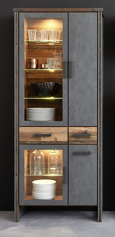 Vitrine Prime | Old Used Wood / Matera grau | LED Beleuchtung | Shabby Look
