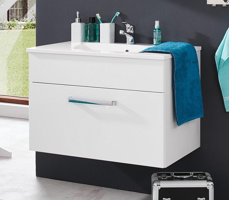 Waschbeckenunterschrank Adamo | weiß Hochglanz | inkl. Waschbecken | Waschtisch