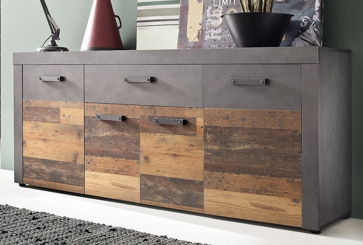 Sideboard Kommode Indy | Old Used Wood / Matera grau | 178x77 cm | Shabby Look