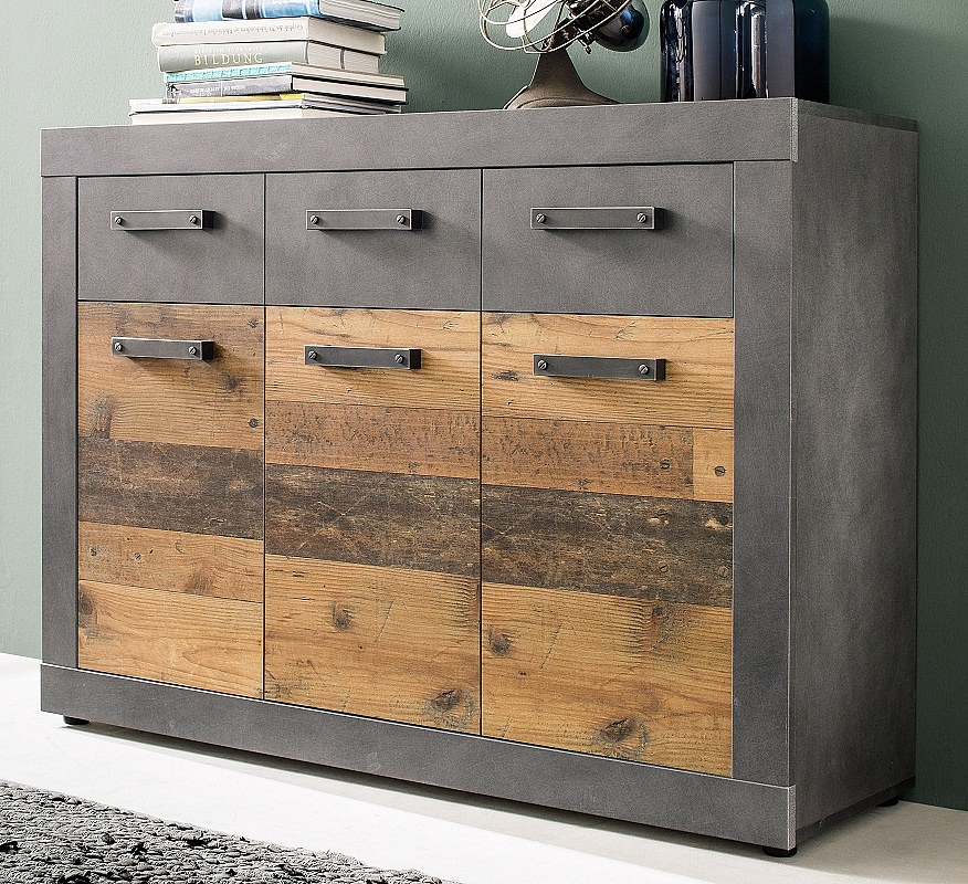 Sideboard Kommode Indy   Old Used Wood / Matera grau   117x86 cm   Shabby Look