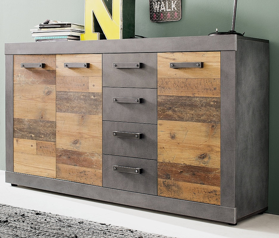 Sideboard Kommode Indy Old Used Wood Matera Grau 151x86 Cm Shabby Look