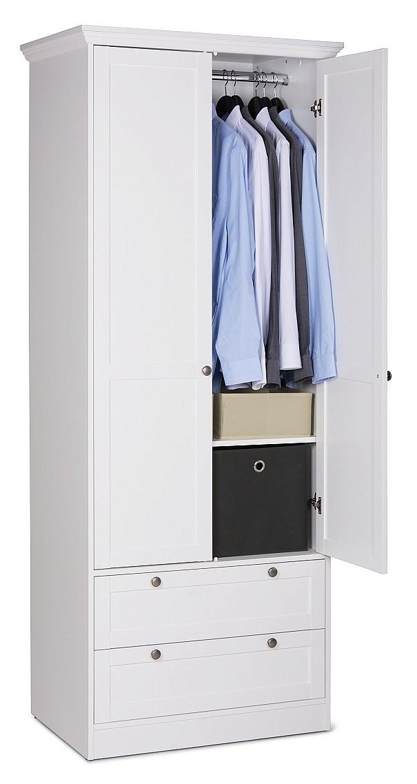 Kleiderschrank Schlafzimmerschrank Landus | Landhausstil | 2 Türig | Weiß