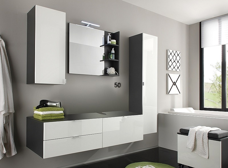 badm bel set beach wei hochglanz grau 4 teilig. Black Bedroom Furniture Sets. Home Design Ideas