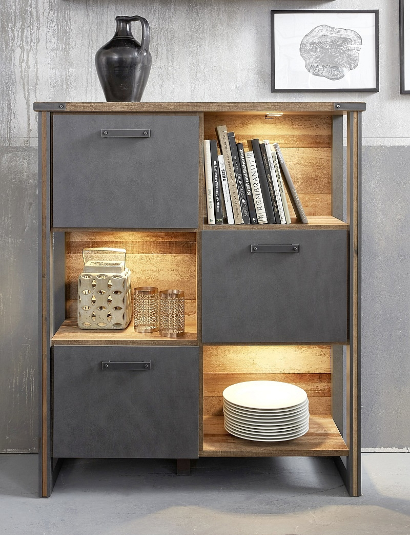 Highboard Regal Prime | Old Used Wood / Matera grau | LED-Beleuchtung | Shabby Look