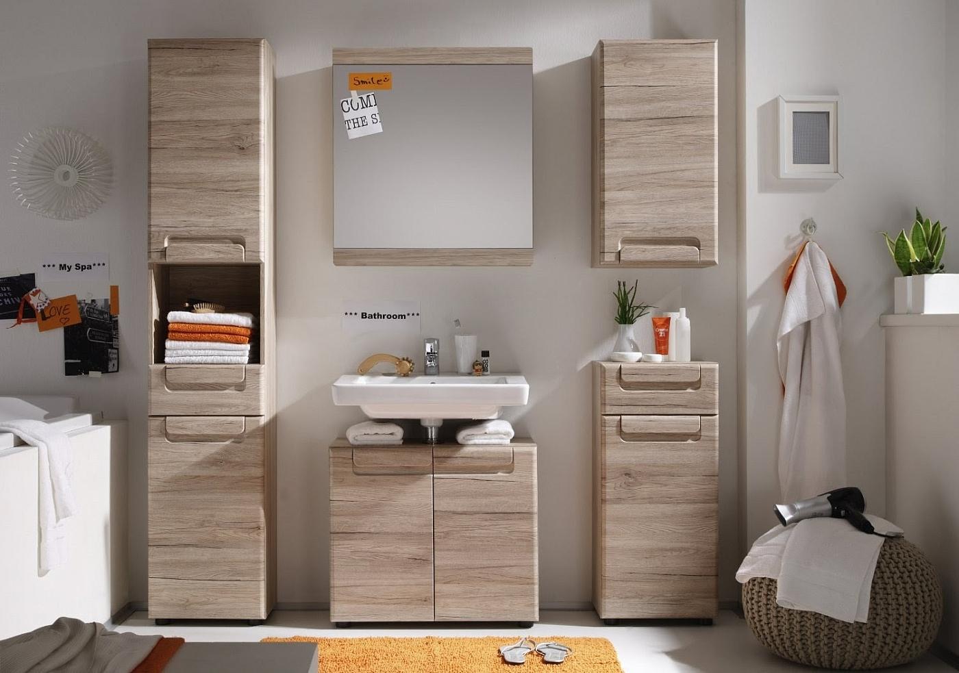 Badezimmer-Set Malea   Eiche San Remo hell   5-teilig   mit Spiegel