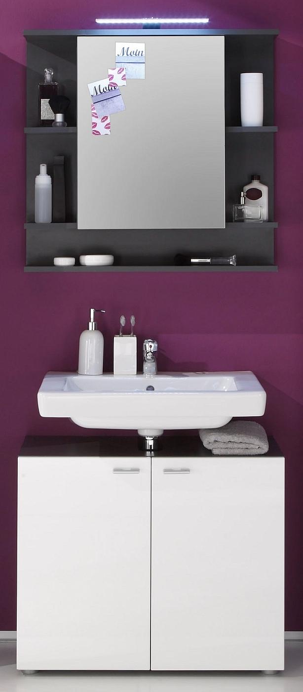 badezimmer set tetis wei hochglanz graphit grau 2 teilig. Black Bedroom Furniture Sets. Home Design Ideas