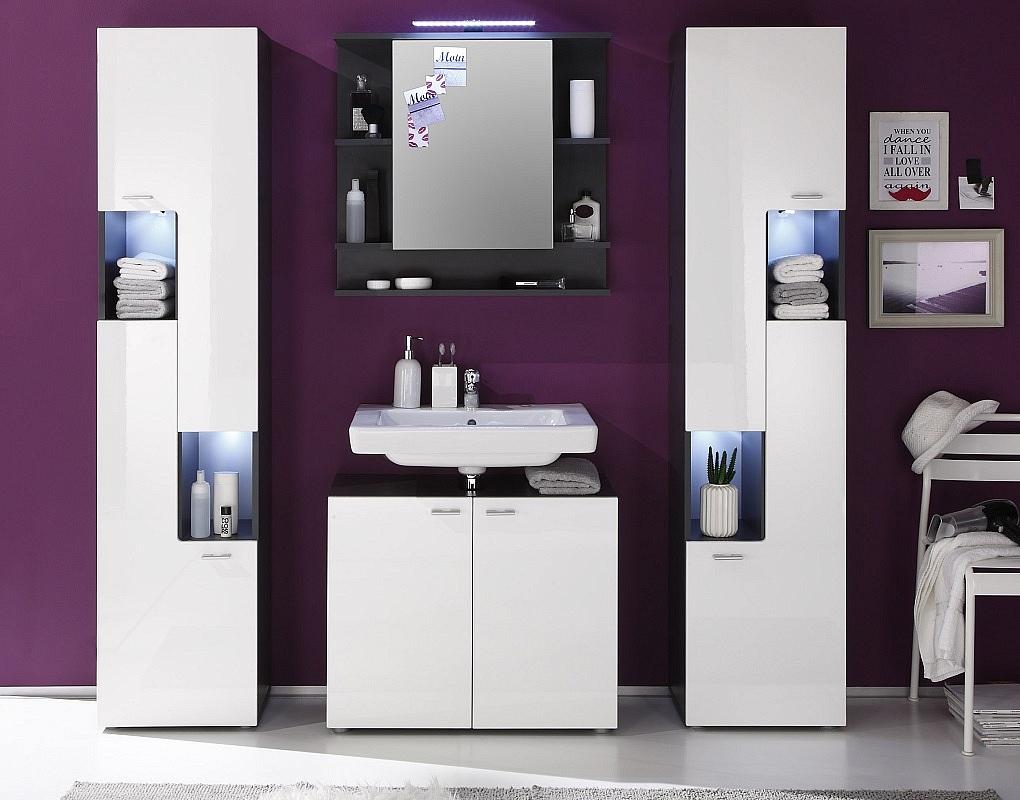 Badezimmer-Set Tetis   weiß Hochglanz / Graphit grau   4-teilig