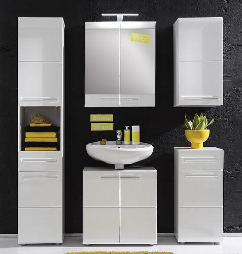 Badezimmer-Set Bora | weiß Hochglanz | 5-teilig