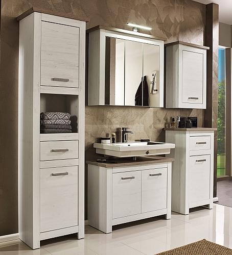 Badezimmer-Set Lotte | Landhausstil | Pinie weiß Struktur / Nelson Eiche | 5-teilig