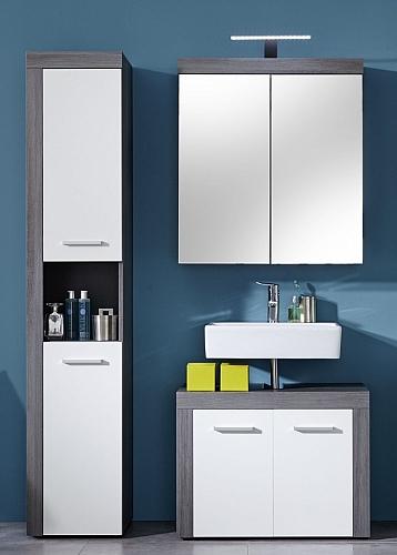 Badezimmer-Set Miami | weiß / rauchsilber | 3-teilig