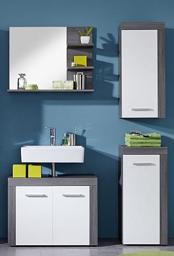 Badezimmer-Set Miami | weiß / rauchsilber | 4-teilig