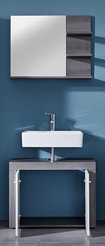 Badezimmer-Set Miami | weiß / rauchsilber | 2-teilig