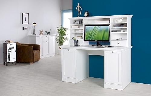 Schreibtisch Landus | mit Aufsatzschrank | Landhausstil | weiß