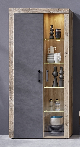 Vitrine Vitrinenschrank Tailor | Matera grau / Shabby Old Used Wood  | inkl. LED Beleuchtung
