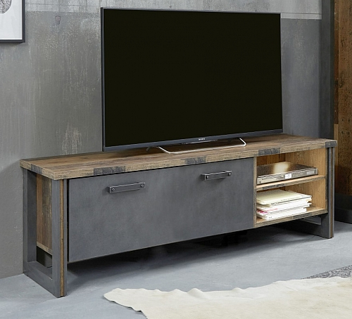 Lowboard TV-Schrank Prime | Old Used Wood / Matera grau | LED Beleuchtung | Shabby Look