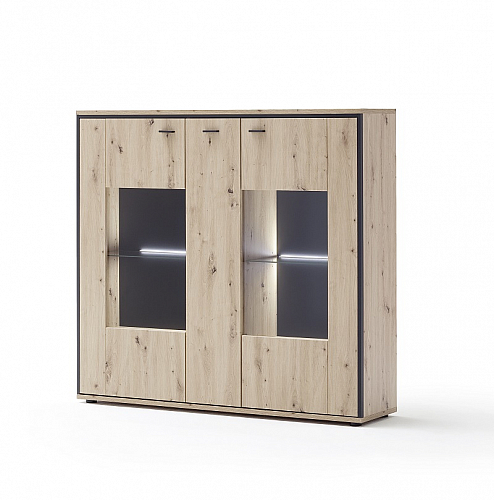 Highboard Buenos Aires | Balkeneiche | LED Beleuchtung