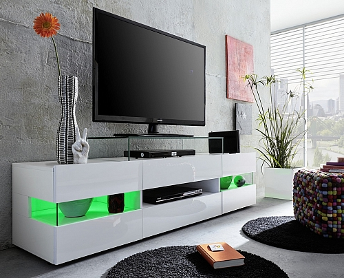 Lowboard TV-Schrank Sonic | Glanz weiß | LED Beleuchtung | 163 cm