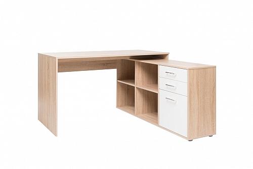 Schreibtisch Berlin | weiß / Sonoma Eiche