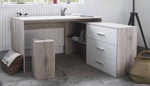 Schreibtisch Berlin | weiß Hochglanz / Sorrento Eiche