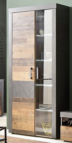Vitrine Vitrinenschrank Indy | Old Used Wood / Matera grau | inkl. LED Beleuchtung | Shabby Look