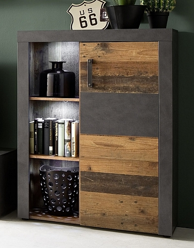 Highboard Kommode Indy | Old Used Wood / Matera grau | LED Beleuchtung | Shabby Look