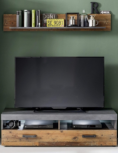 TV Lowboard & Wandboard Indy | Old Used Wood / Matera grau | 2-teilig | Shabby Look