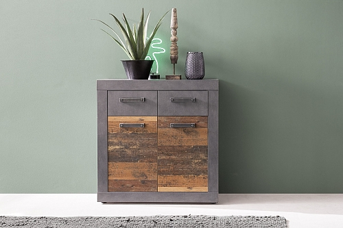 Sideboard Kommode Indy | Old Used Wood / Matera grau | 82x86 cm | Shabby Look
