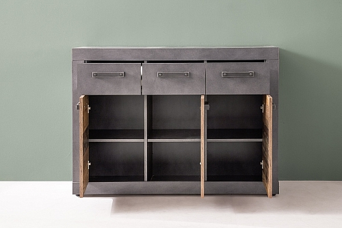 Sideboard Kommode Indy | Old Used Wood / Matera grau | 117x86 cm | Shabby Look