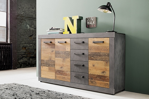 Sideboard Kommode Indy | Old Used Wood / Matera grau | 151x86 cm | Shabby Look