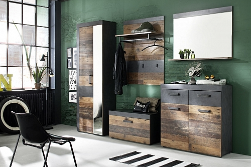 Garderobenschrank Indy | Old Used Wood / Matera grau | Shabby Look