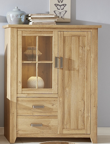 Vitrine Highboard Canyon | Alteiche Holz Design | LED Beleuchtung