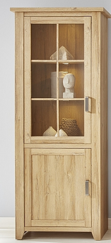 Vitrine Canyon hoch | Alteiche Holz Design | LED Beleuchtung