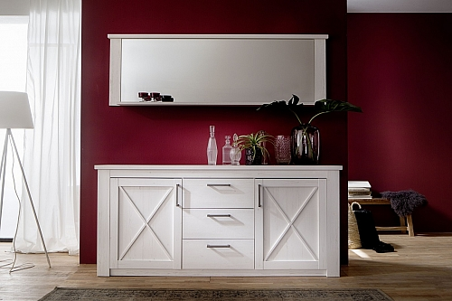 Sideboard Georgia | Pinie weiß | Kommode Landhausstil