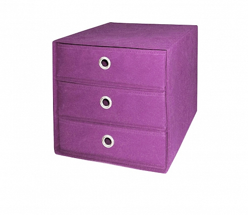 Regalbox Alfus | mit Schubkästen | violett | 3er Set