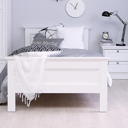 Einzelbett Polsterbett Landus | Landhaus | weiß | 90x200