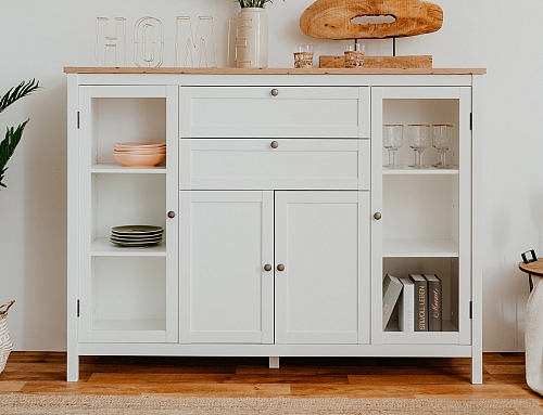 Highboard Kommode Bergus | Landhausstil | weiß / Eiche Artisan