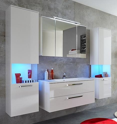 Badezimmer-Set Sky | weiß Hochglanz | inkl. Waschbecken | 5-teilig