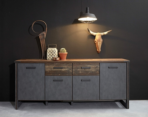 Sideboard Prime | Old Used Wood / Matera grau | Shabby Look