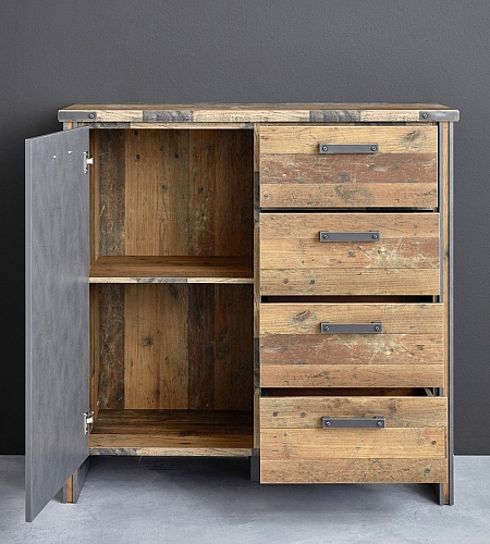 Kommode Prime | Old Used Wood / Matera grau | Shabby Look