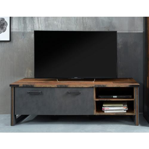 Lowboard TV-Schrank Prime   Old Used Wood / Matera grau   LED Beleuchtung   Shabby Look