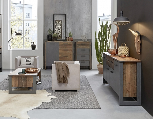 Couchtisch Prime | Old Used Wood / Matera grau | Shabby Look