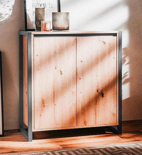 Kommode Sideboard Texas 1 | Artisan Oak / anthrazit | Industrial Look