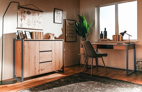 Kommode Sideboard Texas 2 | Artisan Oak / anthrazit | Industrial Look