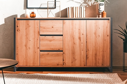 Kommode Sideboard Texas 3 | Artisan Oak / anthrazit | Industrial Look