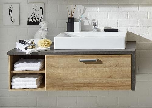 Waschbeckenunterschrank Bay | inkl. Waschbecken | Eiche Honig / Beton | Waschtisch