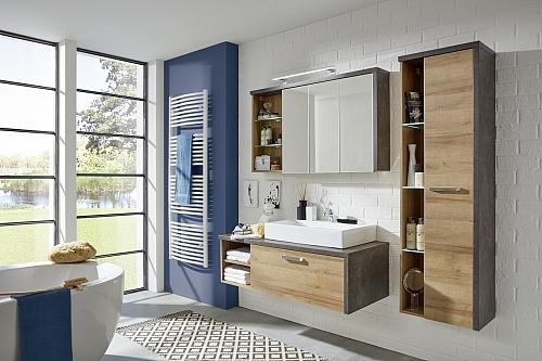 Waschtisch Bay | inkl. Waschbecken | Eiche Honig / Beton | Waschbeckenunterschrank