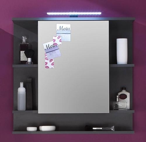 Badezimmer-Set Tetis | weiß Hochglanz / Graphit grau | 4-teilig