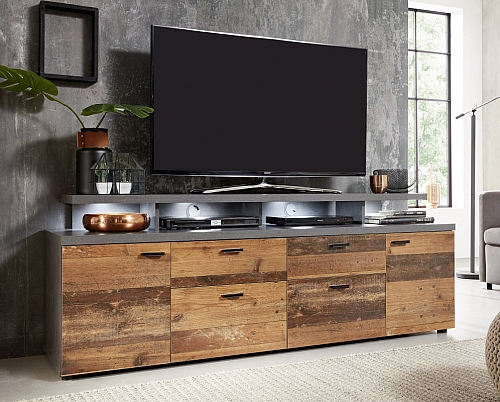 TV Lowboard Mood | Old Used Wood / Matera grau | Shabby Look