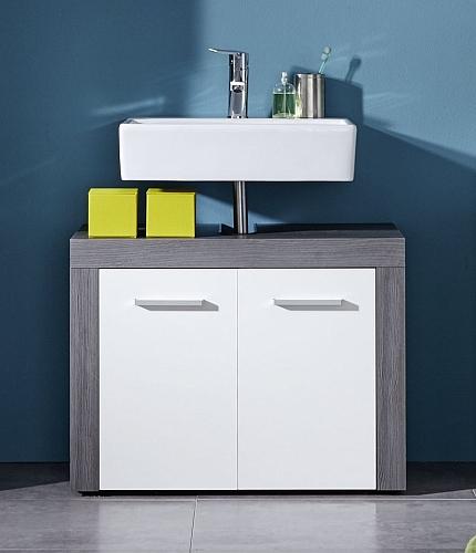 Waschbeckenunterschrank Miami | Waschtisch | weiß / rauchsilber